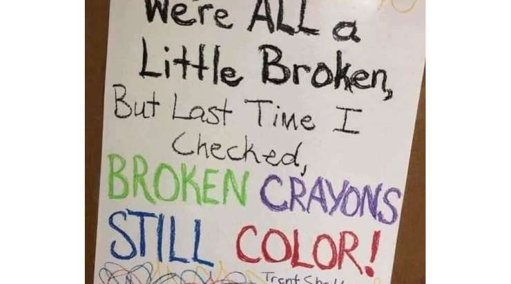 Even broken crayons can still colour!